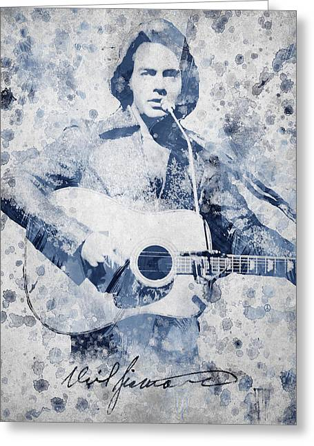 Known Greeting Cards - Neil Diamond Portrait Greeting Card by Aged Pixel