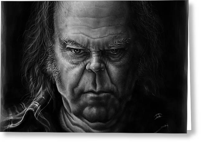 Neil Young Greeting Card by Andre Koekemoer