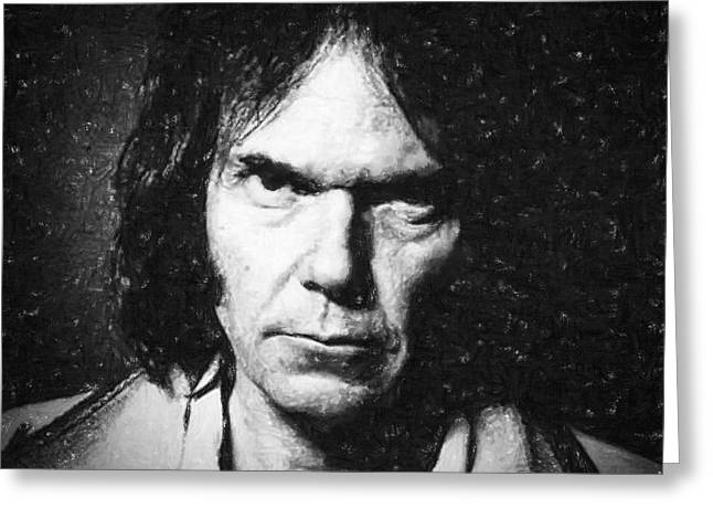 Guitar Pastels Greeting Cards - Neil Young Greeting Card by Antony McAulay