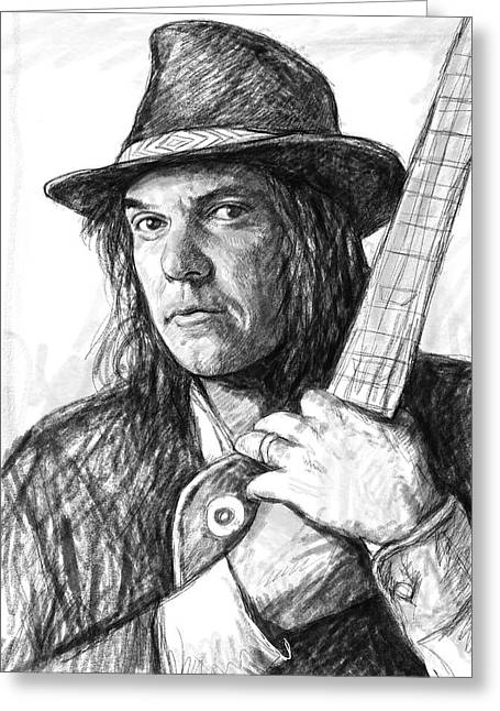 Charcoal Portrait Greeting Cards - Neil Young art drawing sketch portrait Greeting Card by Kim Wang