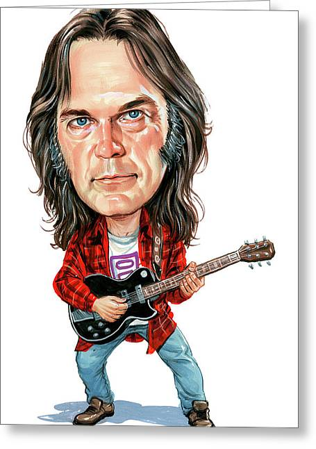 Paintings Greeting Cards - Neil Young Greeting Card by Art