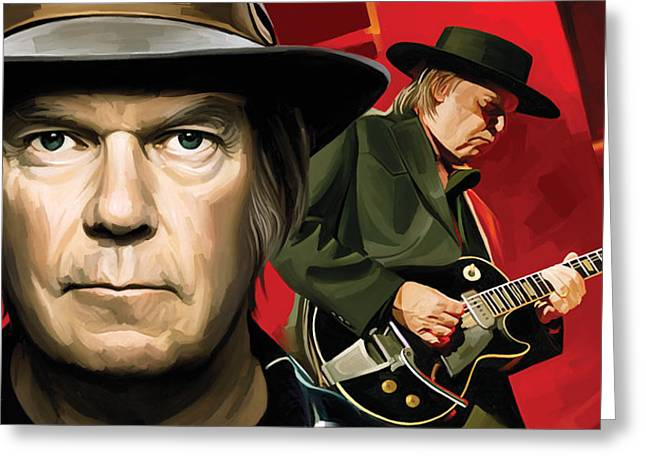 Neil Young Greeting Cards - Neil Young Artwork Greeting Card by Sheraz A