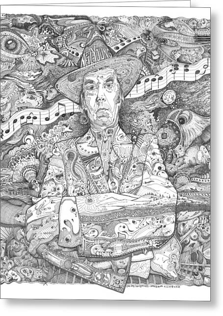 Neil Young Drawings Greeting Cards - Neil Young lives Music Greeting Card by Lance Graves