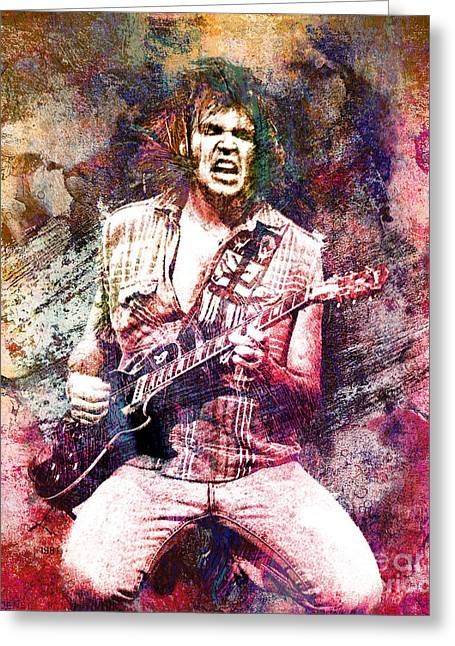 Neil Young Greeting Cards - Neil Young Original Painting Print Greeting Card by Ryan RockChromatic
