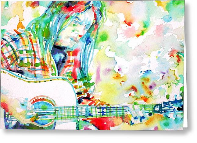 Neil Young Greeting Cards - NEIL YOUNG playing the GUITAR - watercolor portrait.1 Greeting Card by Fabrizio Cassetta