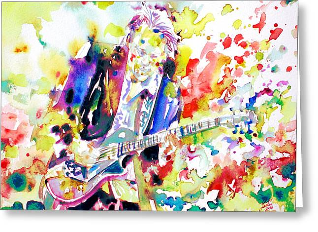 Neil Young Greeting Cards - NEIL YOUNG playing the GUITAR - watercolor portrait.2 Greeting Card by Fabrizio Cassetta