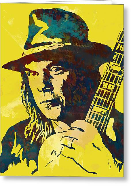 1960 Mixed Media Greeting Cards - Neil Young pop artsketch portrait poster Greeting Card by Kim Wang