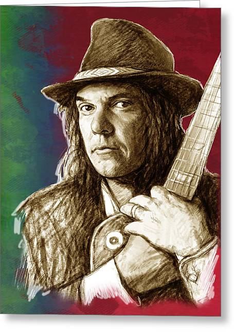 Featured Mixed Media Greeting Cards - Neil Young - stylised pop art drawing portrait poster  Greeting Card by Kim Wang