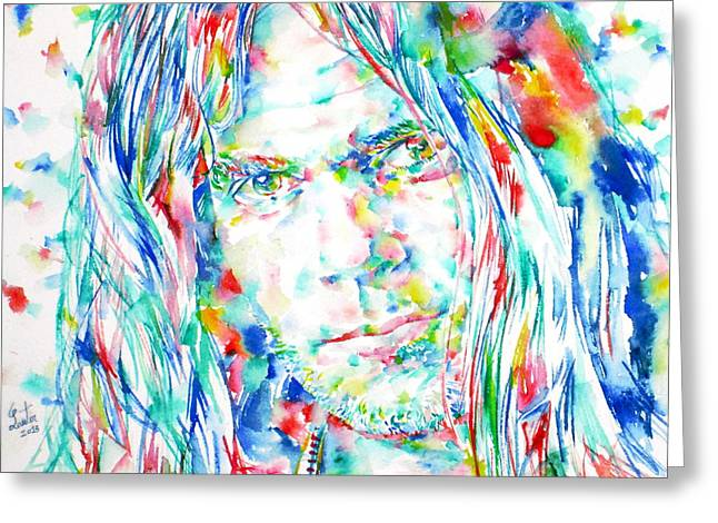 Neil Young Greeting Cards - NEIL YOUNG - watercolor portrait Greeting Card by Fabrizio Cassetta