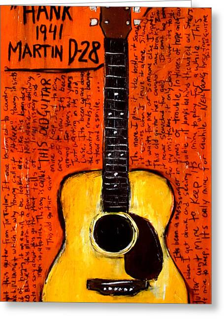 Neil Young Greeting Cards - Neil Youngs Hank Martin Guitar Greeting Card by Karl Haglund