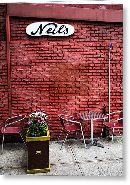 Table And Chairs Photographs Greeting Cards - Neils Greeting Card by Karol  Livote