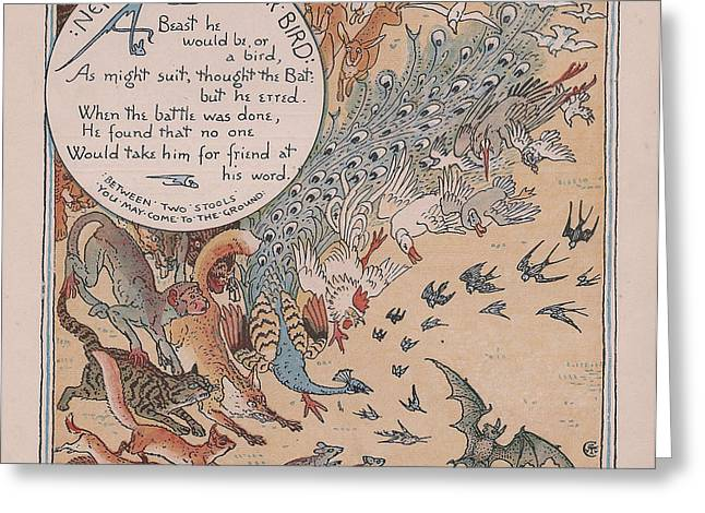 Moral Greeting Cards - Neither Beast nor Bird Greeting Card by Anon