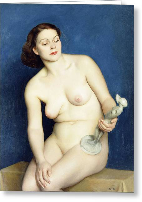 Nudes Sculptures Greeting Cards - Nellie and Phryne Greeting Card by William McGregor Paxton