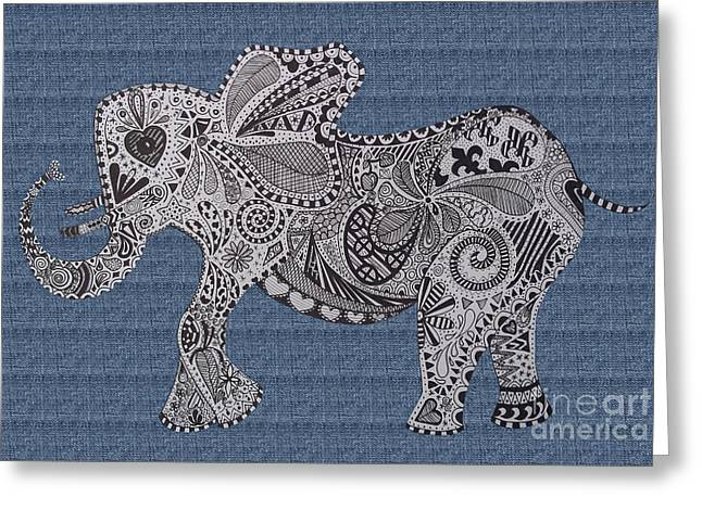 Love The Animal Greeting Cards - Nelly the Elephant Denim Greeting Card by Karen Larter