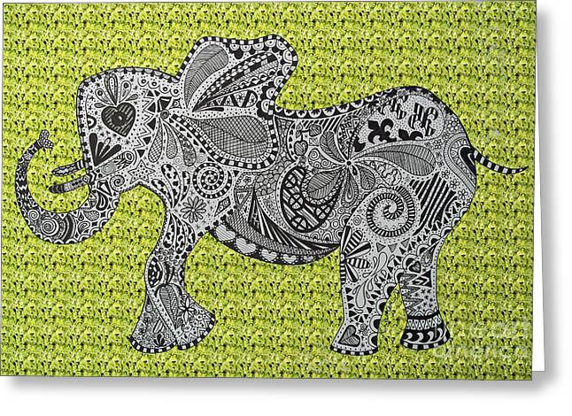 Love The Animal Drawings Greeting Cards - Nelly the Elephant Green Greeting Card by Karen Larter