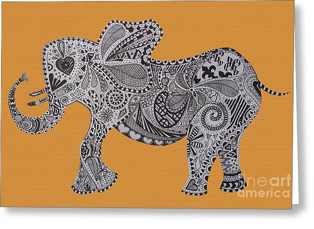 Love The Animal Drawings Greeting Cards - Nelly the Elephant Orange Greeting Card by Karen Larter