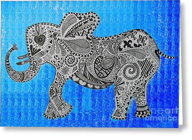 Love The Animal Drawings Greeting Cards - Nelly the Elephant Shades of Blue Greeting Card by Karen Larter