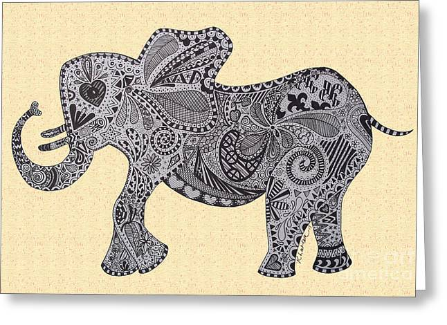 Love The Animal Drawings Greeting Cards - Nelly the Elephant Sprinkles Greeting Card by Karen Larter