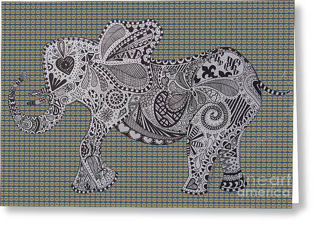 Love The Animal Drawings Greeting Cards - Nelly the Elephant tartan Greeting Card by Karen Larter