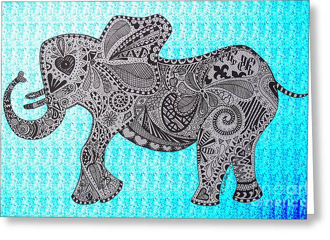 Love The Animal Drawings Greeting Cards - Nelly the Elephant Turquoise Greeting Card by Karen Larter