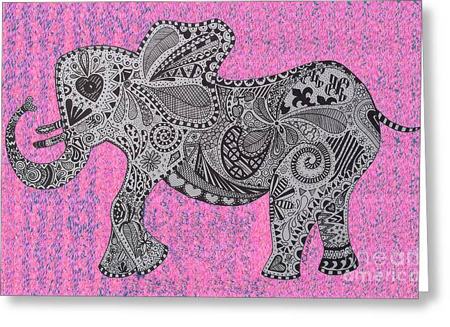 Love The Animal Drawings Greeting Cards - Nelly the Elephany cycadelik Greeting Card by Karen Larter