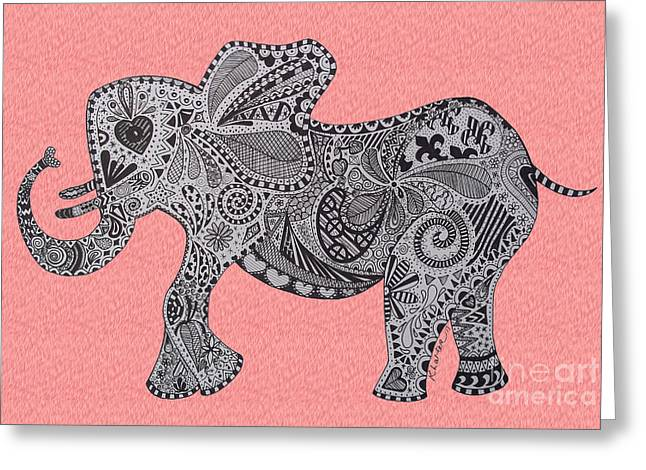 Love The Animal Drawings Greeting Cards - Nelly the Elephany Pink Greeting Card by Karen Larter