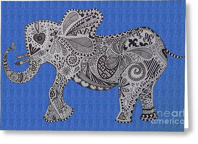 Love The Animal Drawings Greeting Cards - Nelly the Elphant Bright Blue Greeting Card by Karen Larter