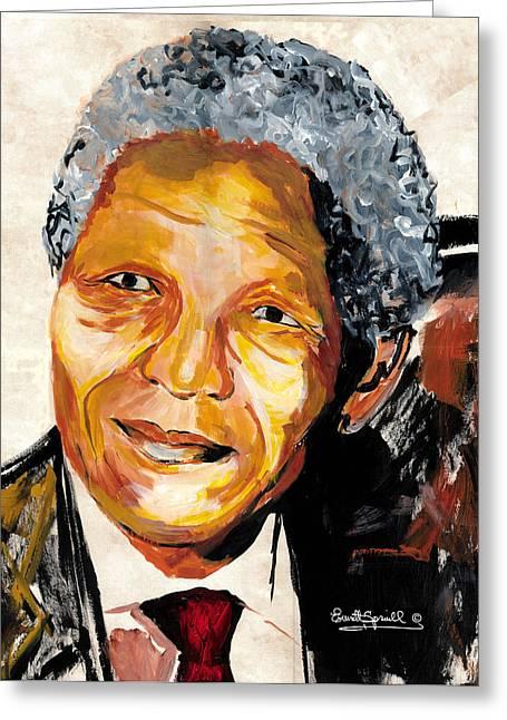 Everett Spruill Mixed Media Greeting Cards - Nelson Mandela 2008 Greeting Card by Everett Spruill