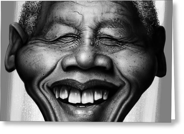 Nelson Greeting Cards - Nelson Mandela Greeting Card by Andre Koekemoer