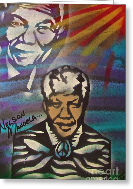 Occupy Greeting Cards - Nelson Mandela Art  Greeting Card by Tony B Conscious