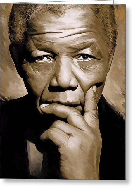 Nelson Greeting Cards - Nelson Mandela Artwork Greeting Card by Sheraz A