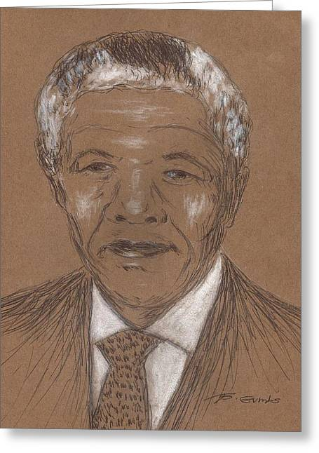 Human Rights Leader Greeting Cards - Nelson Mandela Greeting Card by Bob Gumbs