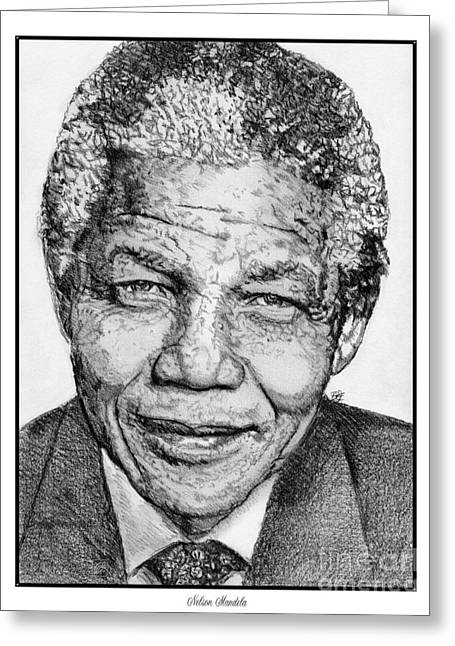 Fame Drawings Greeting Cards - Nelson Mandela Greeting Card by J McCombie