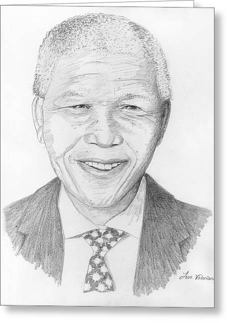 Famous Person Drawings Greeting Cards - Nelson Mandela Greeting Card by Jose Valeriano