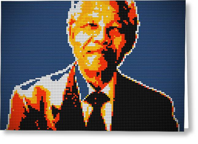 Lego Greeting Cards - Nelson Mandela Lego pop art Greeting Card by Georgeta Blanaru