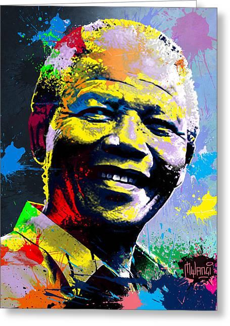 Nelson Mandela Madiba Greeting Card by Anthony Mwangi