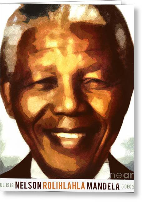 South Congress Greeting Cards - Nelson Mandela Greeting Card by Nishanth Gopinathan