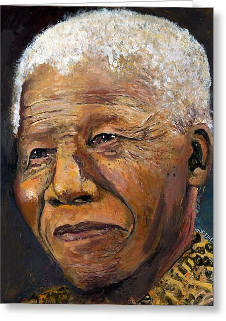 Historical Images Paintings Greeting Cards - Nelson Mandela Greeting Card by Patricia Marie Trudeau