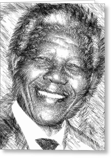 Ink Drawing Greeting Cards - Nelson Mandela Greeting Card by Rafael Salazar