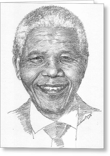 Nelson Mandela Greeting Card by Salman Ameer