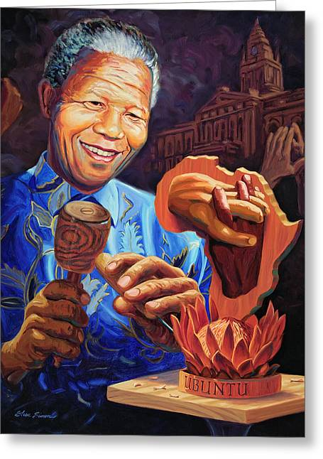Nelson Greeting Cards - Nelson Mandela Greeting Card by Steve Simon