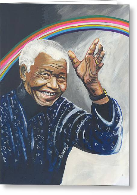Arc-en-ciel Greeting Cards - Nelson Mandela The Father of The Rainbow Nation Greeting Card by Emmanuel Baliyanga
