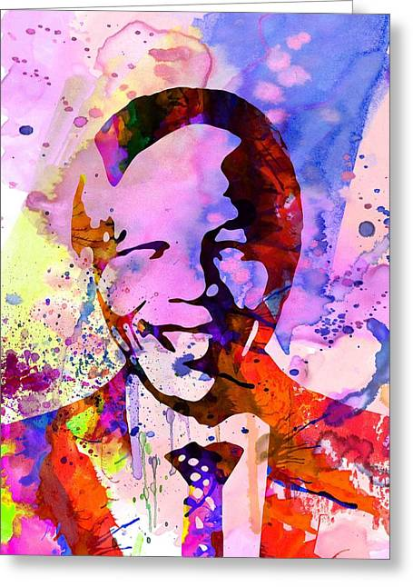 Rights Paintings Greeting Cards - Nelson Mandela Watercolor Greeting Card by Naxart Studio