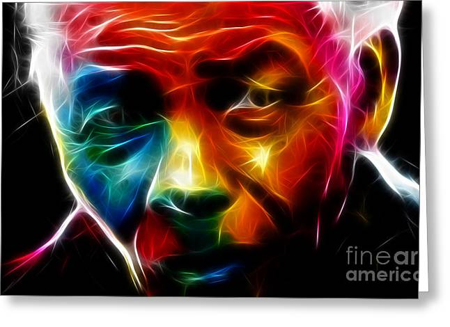 Protrait Greeting Cards - Nelson Mandela  Greeting Card by Pamela Johnson
