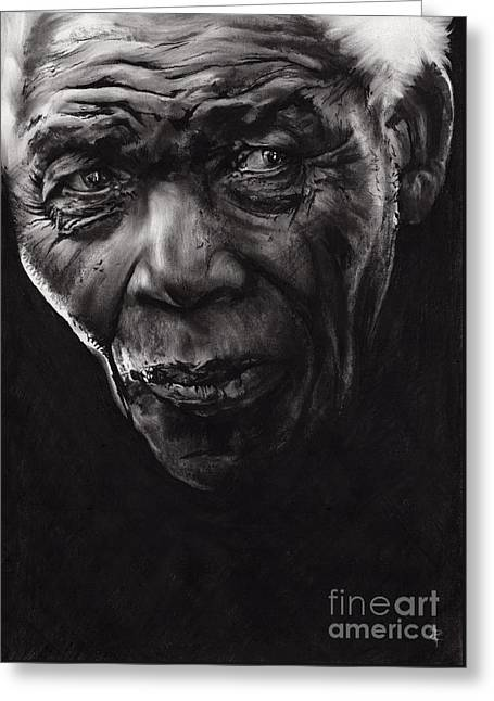Human Rights Leader Greeting Cards - Nelson Greeting Card by Paul Davenport
