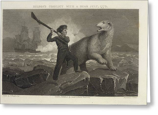 Nelson's Conflict With A Bear Greeting Card by British Library