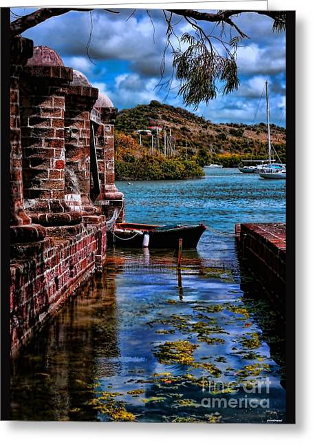 Docked Boats Digital Greeting Cards - Nelsons Dockyard Antigua Greeting Card by Tom Prendergast