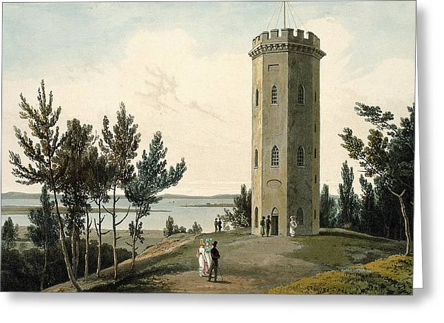 Nelsons Tower, Forres, From A Voyage Greeting Card by William Daniell