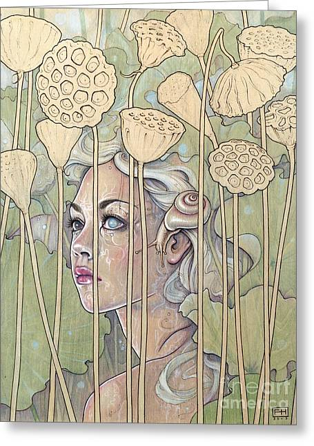Pyrography Greeting Cards - Nelumbo Greeting Card by Fay Helfer