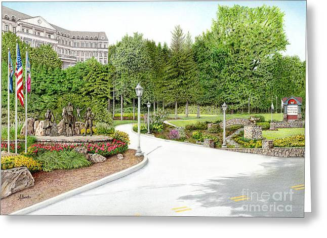 Summer Scene Drawings Greeting Cards - Nemacolin Woodlands Greeting Card by Albert Puskaric